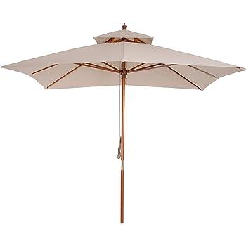 Outsunny Parasol Madera para Jardín Cuadrado 3x3m Sombrilla para ...