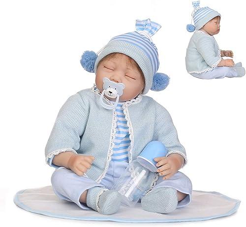 0Miaxudh Rebornpuppe, 55cm Realistisches Vinylsilikon Schlafen Reborn Babypuppe, Kinder begleiten Spielzeug