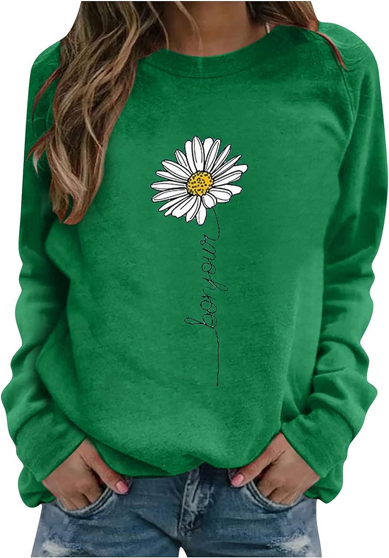 fannyouth Womens Cute Sweatshirt,Fashion Sunflower Print Sweatshirt Lightweight Long Sleeve Raglan Baseball Shirt Tops