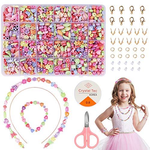 DIAOPROTECT Perlen zum Auffädeln, DIY Freundschaftsarmbänder Selber Machen Kinder,Buchstaben Perlenschmuck Schmuckbasteln,Perlen zum auffädeln Kinder,Schmuck Schnurset,Geschenk für Mädchen,24 Farben