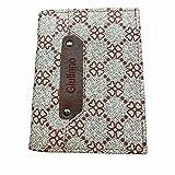 Billetera Bifold para hombre con tarjeta de crédito identificada, monedero, diseño de flores, beige, 12.5 x 10 x 2 cm ( When empty & closed ),