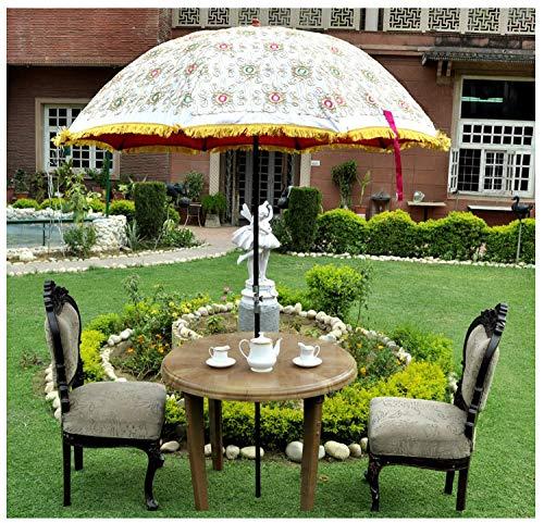 Marusthali Lentejuelas Indias Jardín de Trabajo Sombrilla Hogar Grande al Aire Libre Sombrilla Algodón Sombrilla