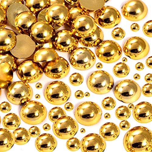 Dowarm 1000 Pieces Flatback Half Pearls, Flat Backed Round Half Pearls for Crafts Jewlery, Mixed Size 4MM 6MM 8MM 10MM 12MM 14MM (Gold)