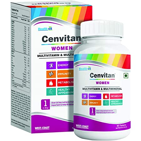Healthvit Cenvitan Women Multivitamin & Multimineral with 24 Nutrients (Vitamins and Minerals) | Anti-Oxidants, Energy, Metabolism, Immunity, Beauty and Healthy Appearance - 60 Tablets