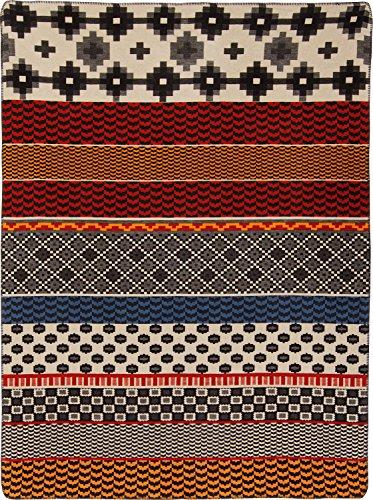 Erwin Müller Wohndecke, Kuscheldecke, Baumwolldecke Ethno-Muster, Baumwollmischung, Größe 150x230 cm - kuschelweich, pflegeleicht, strapazierstark, temperaturausgleichend, mit Häkelsaum-Einfassung