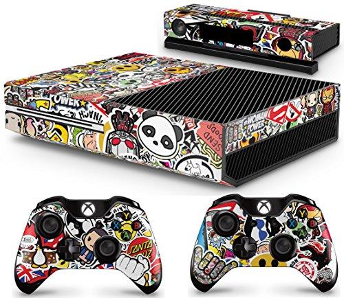 giZmoZ n gadgetZ GNG Xbox One Konsolen-Gehäuseaufkleber, Motiv: STICKERBOMB inklusive 2er-Set mit Aufklebern für Controller