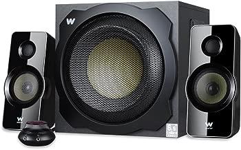 Woxter Big Bass 260 - Altavoces 2.1 (150W, subwoofer de madera, control de volumen con cable y doble conexión, adecuado para TV, PC y videoconsolas), negro