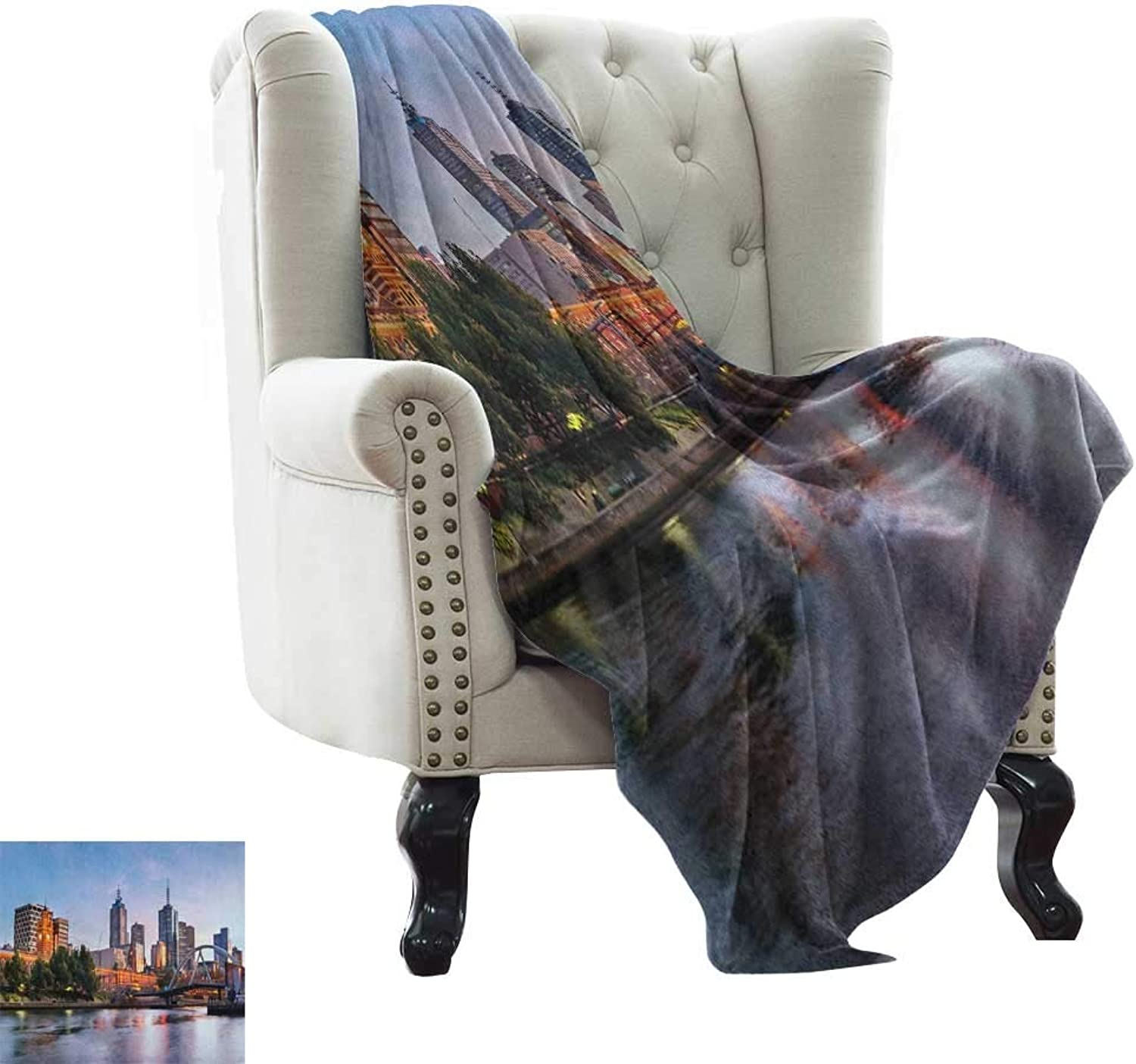 Weighted Blanket for Kids City,Early Morning Scenery in Melbourne Australia Famous Yarra River Scenic, orange Green Pale bluee Weighted for Adults Kids, Better Deeper Sleep 50 x60