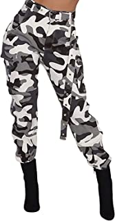 Women's High Waisted Slim Fit Camoflage Camo Jogger Pants with Belt