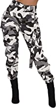 Voghtic Women's High Waisted Slim Fit Camoflage Camo Jogger Pants with Belt