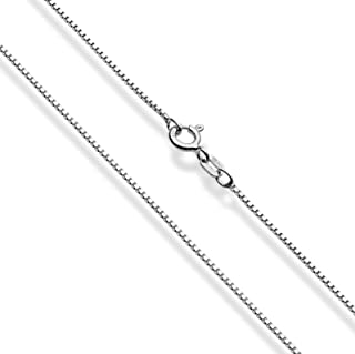 Miabella Solid Sterling Silver Italian 1mm Box Chain Necklace for Women Men 16, 18, 20, 22, 24, 26, 30 Inch Made in Italy