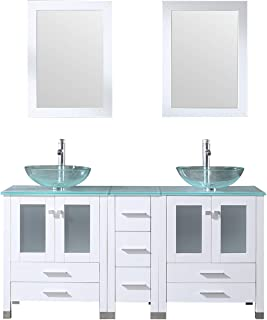 """BATHJOY 60"""" White Bathroom Double Wood Vanity Cabinet with Mirrors Round Tempered Clear Glass Countertop Vessel Sink Chrome Faucet Mounting Ring and Drain"""