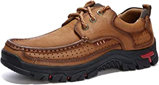 LFANH Men's Waterproof Hiking Shoes, Lightweight Leisure Non-Slip Shockproof Comfortable Leather Hiking Shoes, Outdoor Tra...