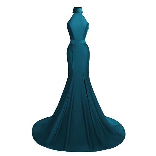 c09cc2cc84e MsJune Women s Mermaid Prom Gowns High Neck Split Side Formal Evening  Dresses