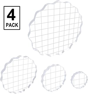 Assorted Sizes Whaline 6 Pieces Acrylic Stamp Block Clear Stamping Tools Set with Grid Lines for Scrapbooking Crafts Card Making