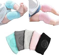 Baby Crawling Anti-Slip Knee Pads, Unisex Baby Toddlers Kneepads 5 Pairs (5 Colors)