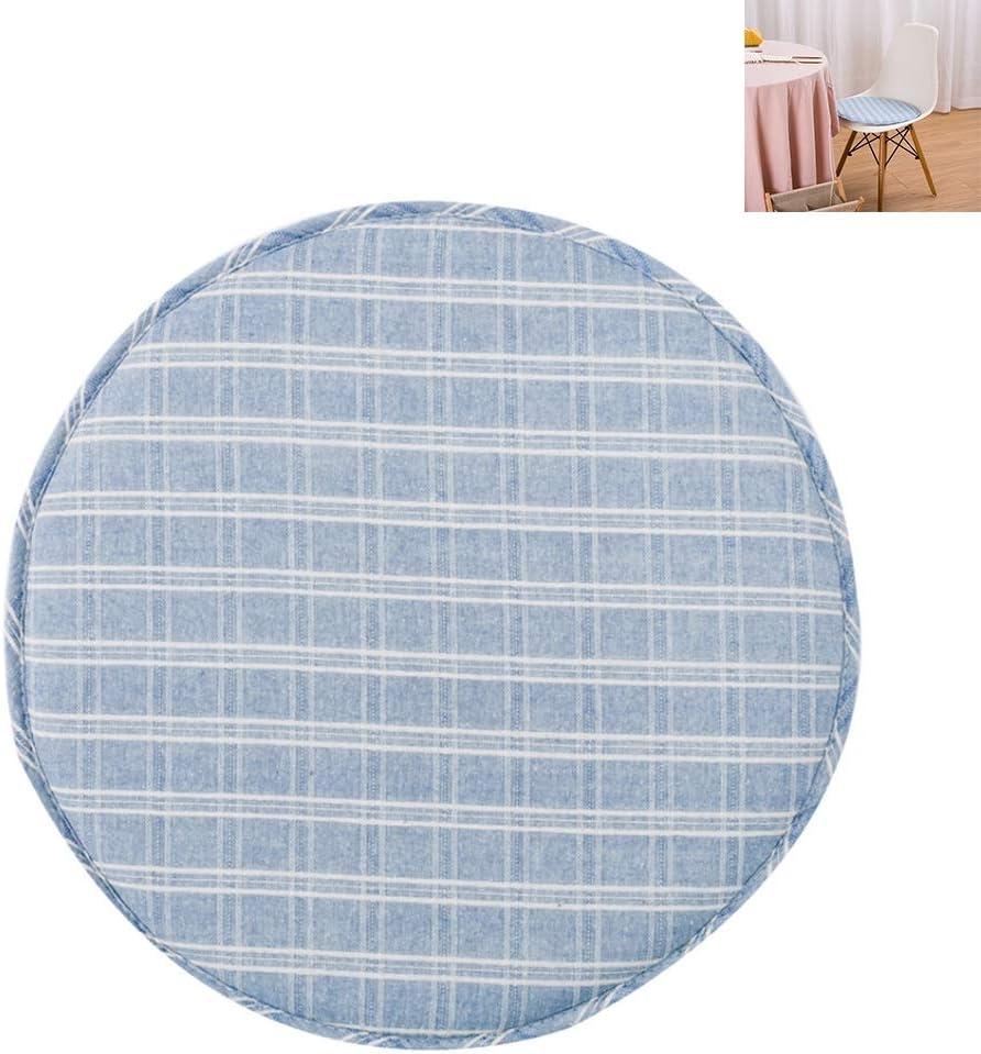 MHGLOVES Cojines del Asiento Redondo, Presidente Antideslizante Ronda de algodón cojín con los Lazos, Ronda Bistro Circulares Amortiguador de la Silla Cojines del Asiento para sillas (1pcs),Azul,B