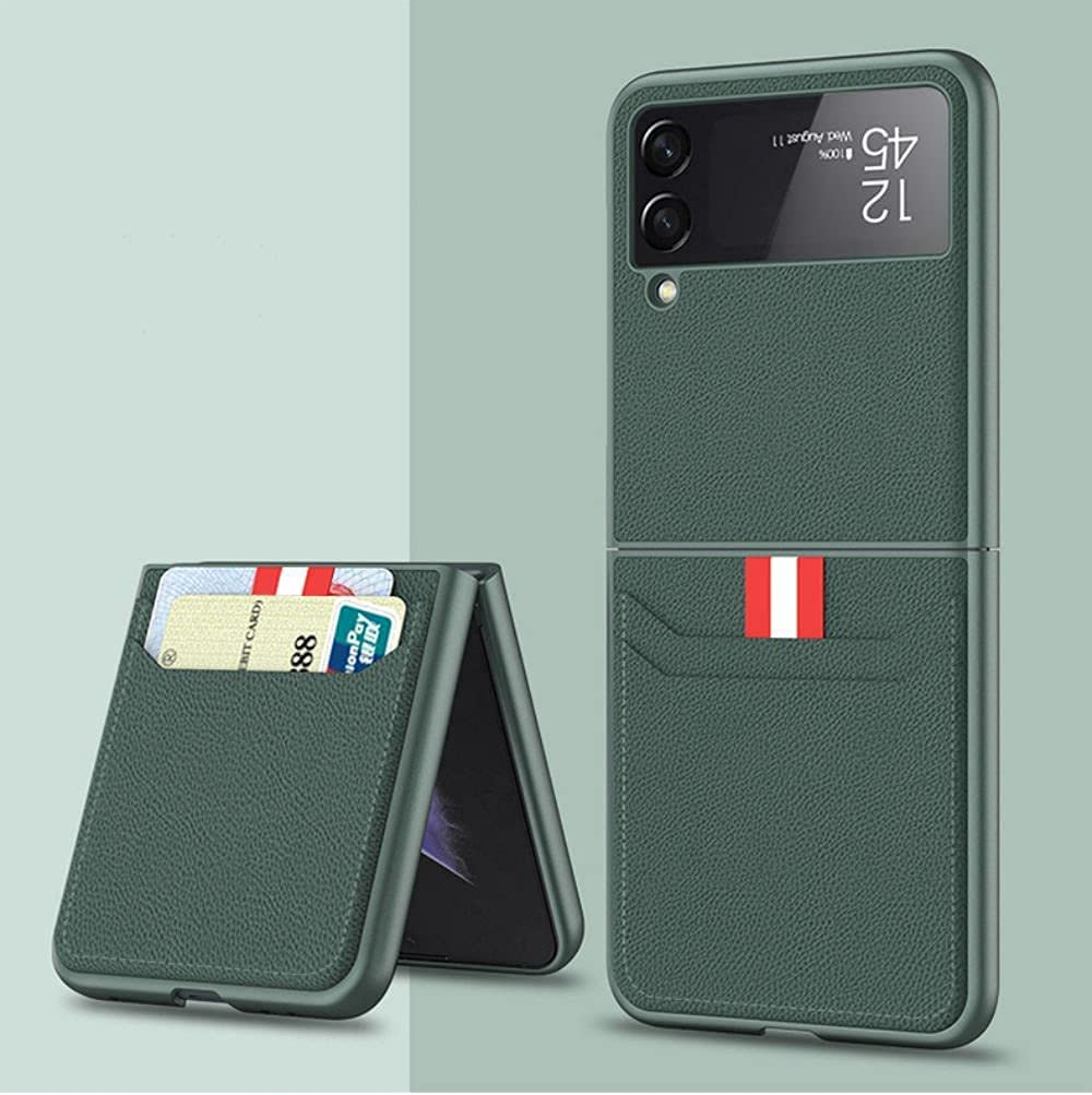 XNDD for Samsung Galaxy Z Flip 3 5G Case with Lightweight Leather Wallet Card Holder Phone Case (Green)