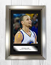 Engravia Digital Stephen Curry NBA Golden State Warriors Reproduction Autograph Poster Picture Photo A4 Print(Silver Frame)