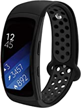 Compatible Samsung Gear Fit2 /Fit2 Pro Band,Soft Silicone Replacement Strap Sport Band Bracelet Wristband Samsung Fit2 SM-R360 /Fit 2 Pro SM-R365 SmartWatch Fitness (Black/Black)