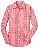 Port Authority Ladies Long Sleeve Gingham Easy Care Shirt. L654 Tangerine/Pink