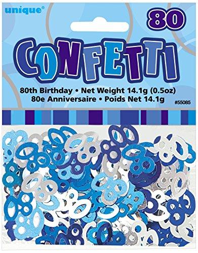 Unique Party 55085 - Glitz Blue Foil 80th Birthday Confetti