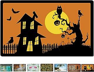 Rubber Welcome Door Mat, Decorative Indoor Outdoor Halloween Doormat Non Slip Front Door Mat, Easy to Clean Low Profile Ma...