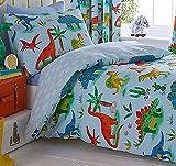 Kids Club Dinosaurios Cortinas Plisadas con Forro Completo, poliéster, algodón, Multicolor, 182 x 167 x 1 cm