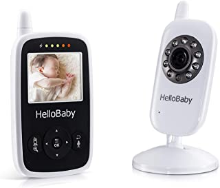 HelloBaby Video Baby Monitor with Camera - Infrared Night Vision, Two-Way Talk Back, Screen, Temperature Detection, Lullabies,Long Range, Private Data Protection and High Capacity Battery