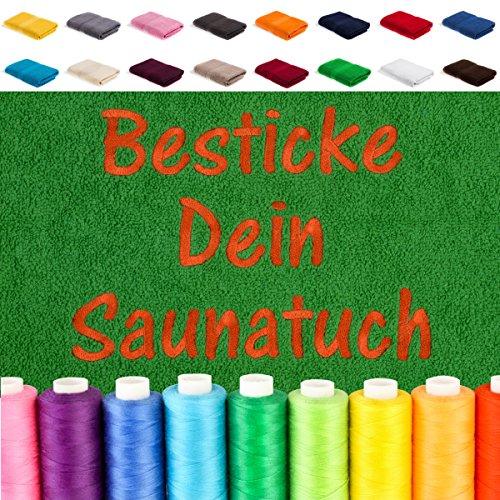 EllaTex Besticken Sie Handtuch mit Namen oder mit Wunschtext Bestickt, Farbe:Rosa; Größe:Saunatuch XXL 100x200 cm