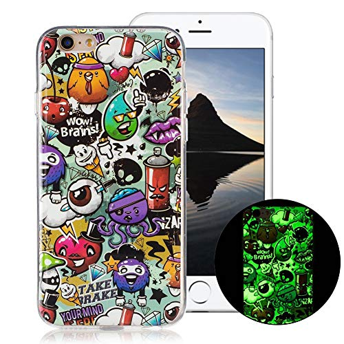 OnlyCase Cover per iPhone 6 / iPhone 6S, Premium Elegante Effetto Luminoso TPU Morbida Silicone Gel Elegante Custodia con,Nottilucente Verde Glow in The Dark Custodia Antiurto, Graffiti