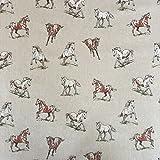 Vintage Tiere Pferde Baumwolle Rich Leinen Look Stoff für