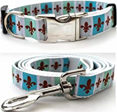 """product image for Diva-Dog 'French Quarter' Custom Medium & Large Dog 1"""" Wide Dog Collar with Plain or Engraved Buckle, Matching Leash Available - M/L, XL"""