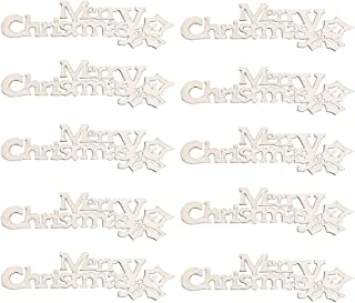 Ouniman 10 PCS Wooden Christmas Ornaments Christmas Tree Hanging Tags Decor Letter Pendants Embellishments Crafts Xmas Holiday Home Bedroom Door Wall Decorations Kids Gifts - Merry Christmas (White)