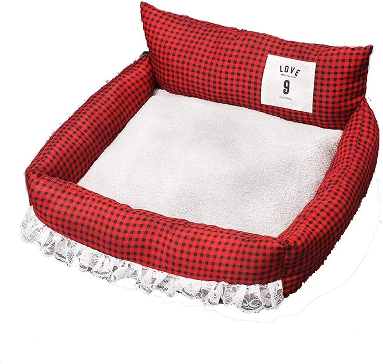 HeiPlaine Pet Sofa Pet Kennel Summer Dog Bed Mat Washable Cat Nest Four Seasons Pet Fossa (color   Green) (color   Red)