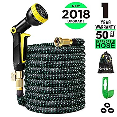 Greness Garden Hose 50 ft,Lightweight Expandable Garden Water Hose with 3/4   Solid Brass Fittings,Durable Outdoor Gardening Flexible Hose for Yard,Expanding Garden Hoses 9 Function Spray Nozzle