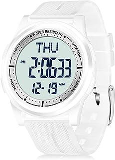 Reloj Digital para Hombre Mujer,5ATM Impermeable Esfera Grande Ultra Delgado con Cronómetro Cuenta Regresiva Alarma Tiempo Dividido Zone Horaria Dual,Deportivo Relojes de Pulsera Unisex