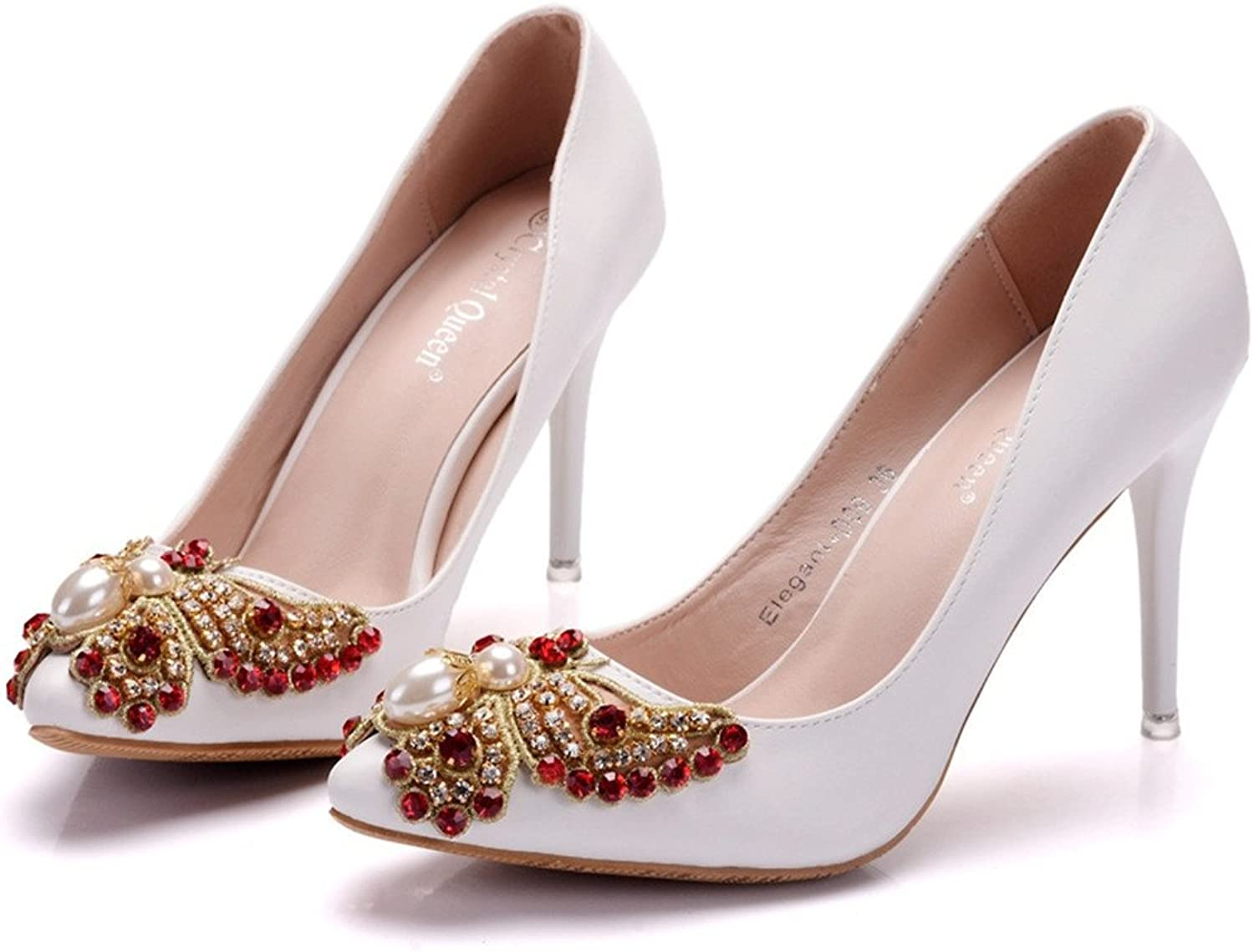 HYP Wedding Women shoes Wedding shoes Women Pumps Closed Toe Wedding Party Court shoes Bridesmaid Bridal shoes Tip with fine Crystal