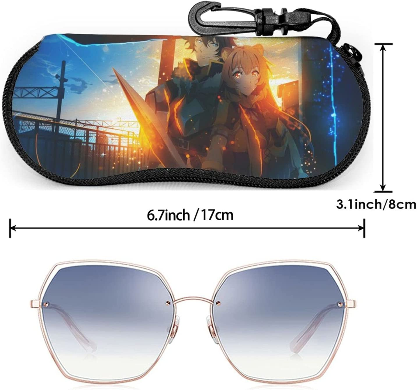 Pinkyee The Rising of The Shield Hero Eyeglass Case Portable Travel Zipper Sunglass Glasses Protective Case with Belt Clip