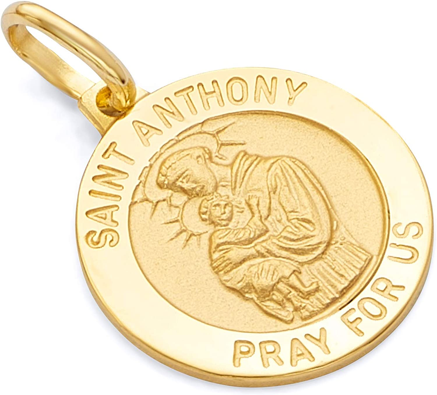 14k REAL Yellow Gold Religious Saint Anthony Medal Charm Pendant
