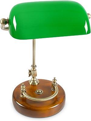 Relaxdays Bankerlampe grün mit verziertem Holzfuß – Retro Tischlampe grüne Schreibtischlampe Bibliotheksleuchte Banker Lampe im 20er Jahre Dekor – Farbe: Grün, Messing, Holz – Maße ØH: ca. 20, 40 cm