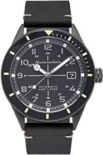 Men's 43mm Black Leather Band Steel Case Sapphire Crystal Automatic Analog Watch SP-5064-01