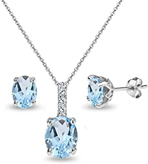 Sterling Silver Genuine, Created or Simulated Gem & White Topaz Oval Crown Necklace & Stud Earrings Set