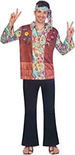 Men's and Women's Hippie Costume Matched 60s 70s Groovy Shirt,Hippie Costume with Headband