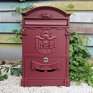 Mailbox Outdoor Mailbox, Retro Creative Waterproof Villa Wall-mounted Lock Letter Box, for House Garden Farm Classroom,26x9x41cm Wall mount Letterboxes (Color : Wine Red)