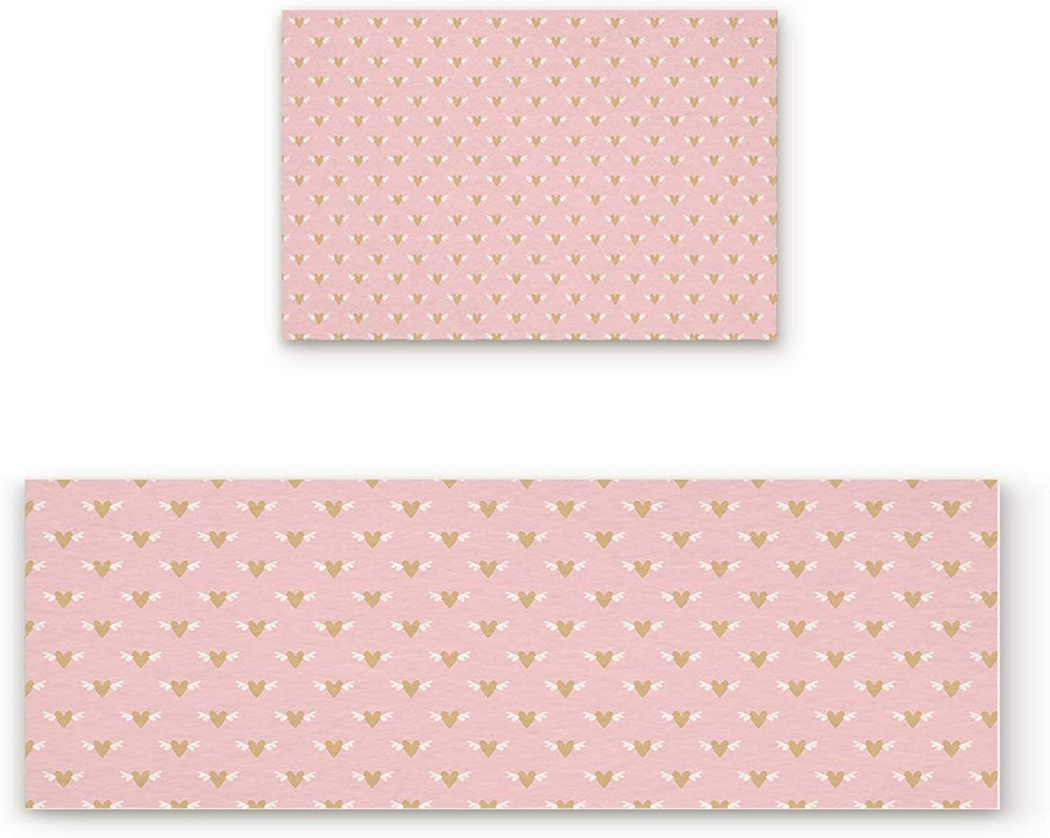 Aomike 2 Piece Non-Slip Kitchen Mat Rubber Backing Doormat Hearts with Wings on Pink Background Runner Rug Set, Hallway Living Room Balcony Bathroom Carpet Sets (19.7  x 31.5 +19.7  x 47.2 )