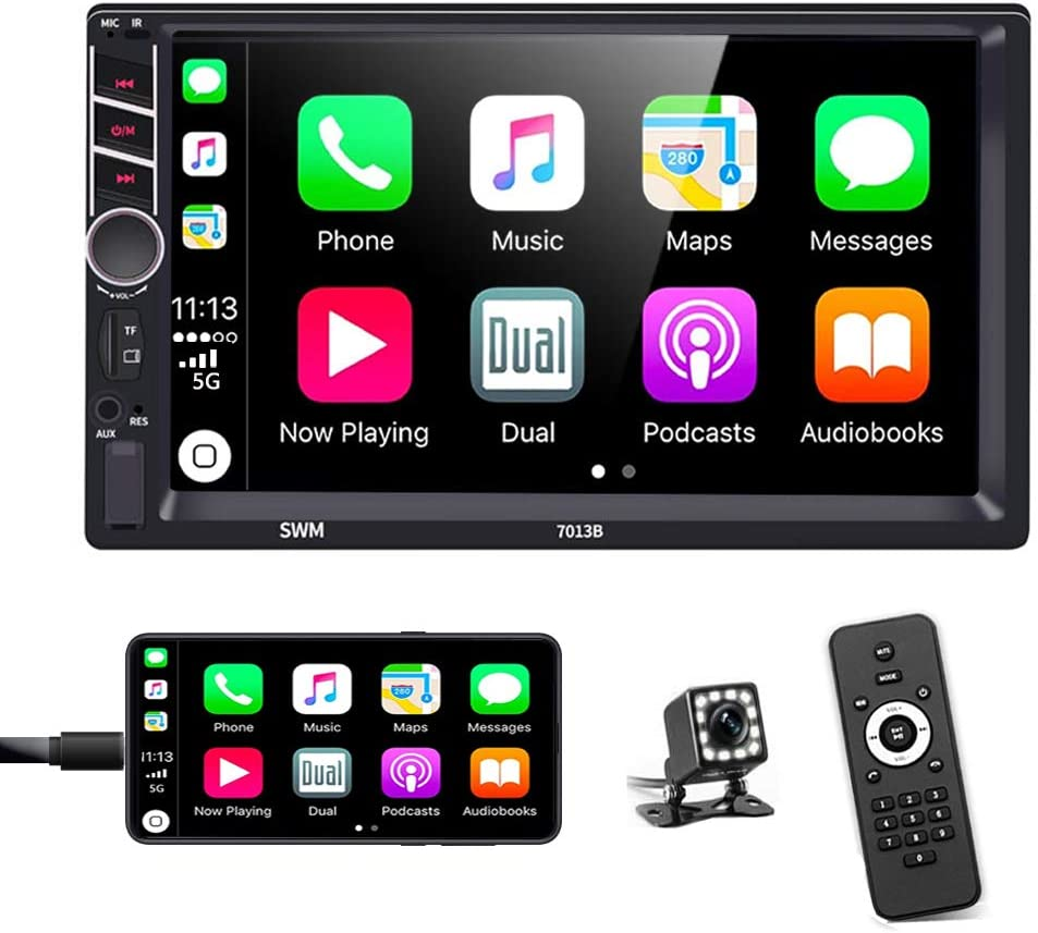 Podofo Double Din Car Stereo in-Dash Car Radio with Apple Carplay and Android Auto Bluetooth 7 Inch HD Touchscreen Auto Radio Support Mirror Link/FM/USB/TF/Aux-in/RCA/with Backup Camera