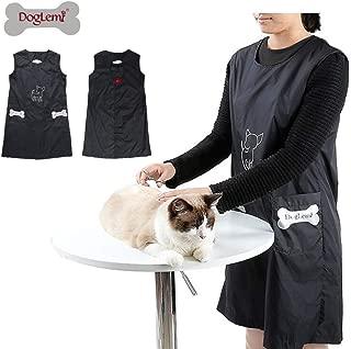 DogLemi Sleeveless Dog Grooming Apron Waterproof Anti-Stick for Pet Groomer Dogs Bathing Black