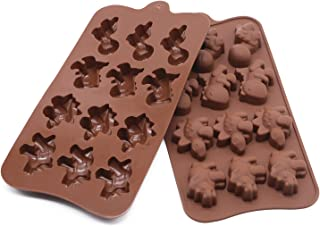 JoieeS Set of 2 Silicone Tray Ice Cube Candy Chocolate Cake Mold Dinosaur