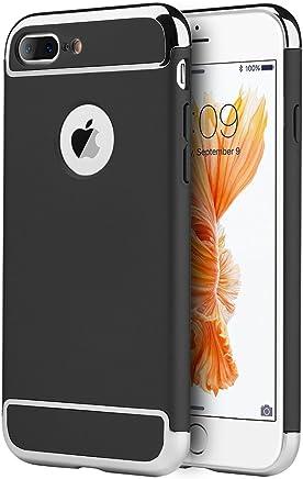 DreamWireless Funda Protector Satinado con Aspecto Cromado para iPhone 7 Plus/iPhone 8 Plus, Color Negro